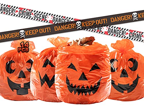 KKEATOY 12Pack Lawn and Leaf Pumpkin Trash Bags, Plastic Garbage Bag for Halloween Decorations Outdoor, Fall Yard Waste Bags 30'' Tall in 4 Different Patterns, Bonus with 2Pcs Fright Tapes and 12Pcs Twist Ties