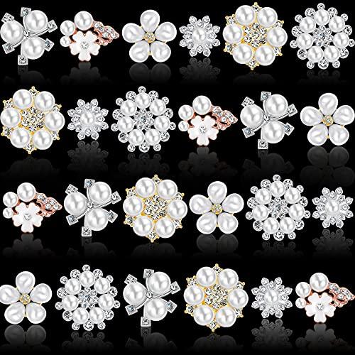 24 Adornos de Perlas Diamantes de Imitación Botones de Flores de Perlas de Imitación Adorno de Perlas de Espalda Plana Broche de Boda de Diamantes de Imitación de Cristal para Manualidades