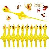 Slingshot Chicken Rubber Chicken Flick Chicken Flying Chicken Flingers Stress Gag Toys, Rubber Chicken Slingshot Funny Christmas Stuffers Easter Chicks Novelty Gifts for Kids Teens (Yellow 10 pcs)