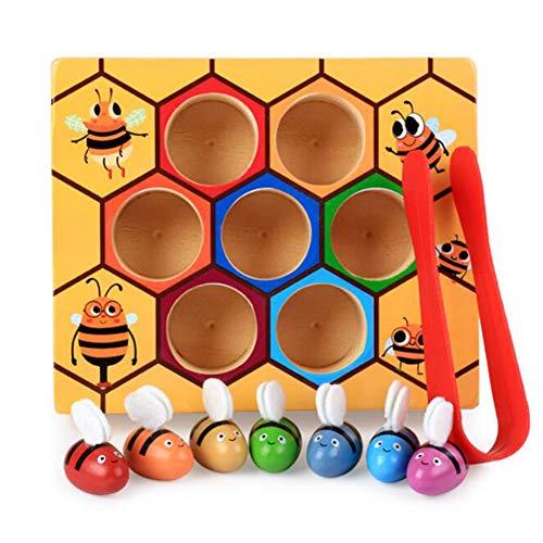 Sxmy Juguetes de educación infantil para niños, abejas trabajadoras de madera, juegos de colmena, juegos de captura de insectos, cognición de color 0-6 años