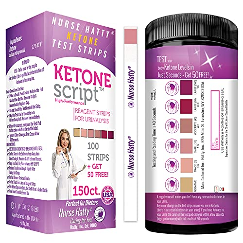 Nurse Hatty 150 Keto Test Strips with Free 300+ Pages of eBooks & Free APP (Track Your Ketone Progress) - USA-Made - Ketone Urine Test for Ketosis on Low Carb Ketogenic Diets - Extra-Long Strips