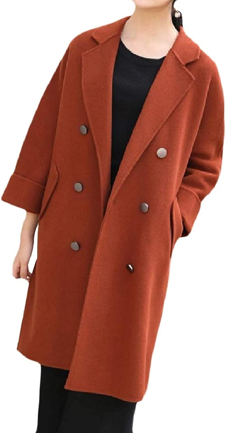 Baseby Womens Wool Double Breasted Notch Lapel Slim Premium Worsted Coat