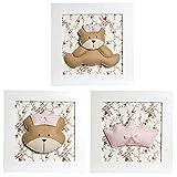 Trio de Quadros Ursa Princesa, Quarto Bebê Infantil Menina, Potinho de Mel, Rosa