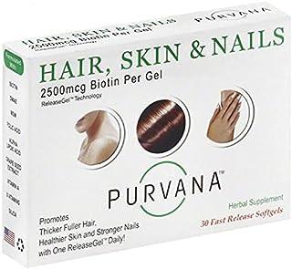 Wellgenix Purvana Hair, Skin, And Nails Vitamin Softgels For High Absorption - Double Strength 2500mcg Biotin, Vit A & B, ...