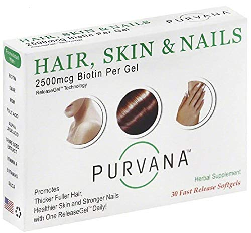 Wellgenix Purvana Hair, Skin, And Nails Vitamin Softgels For High Absorption - Double Strength 2500mcg Biotin, Vit A & B, Folic Acid, Grape Seed Extract - Herbal Supplement (30 Count)