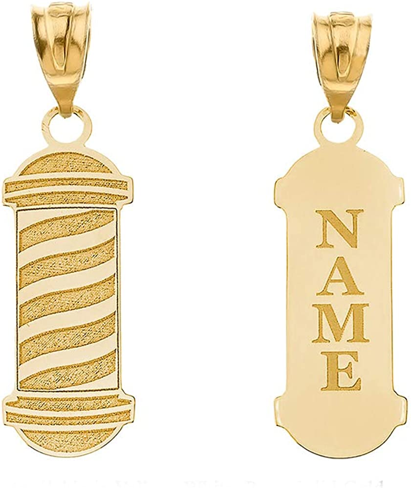 Certified 10k Yellow Gold Personalized Name Barber Shop Pole Engravable Pendant