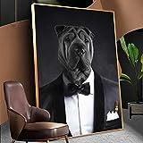 hetingyue Humor Black Bulldog in Suit Canvas Wall Art Funny