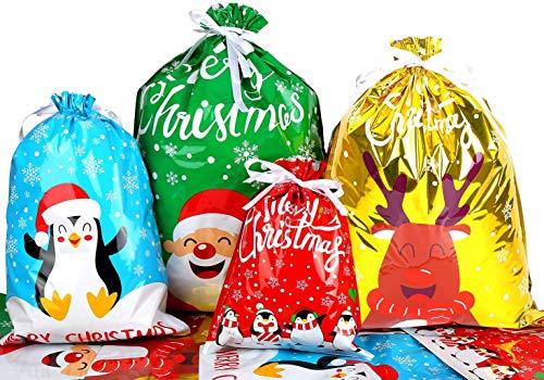 LOKIPA Christmas Drawstring Gift Bags, 30pcs Christmas Party Goody Gift Wrapping Bag for Xmas Present
