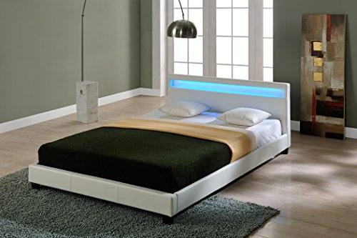 Corium Letto Imbottito Illuminazione LED (Paris) (Bianco)(140x200cm) Letto Moderno/Similpelle/con Rete a doghe di Legno /
