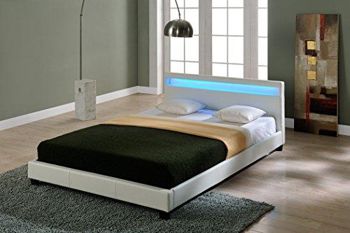 Corium® Cama elegante tapizada en piel sintética - con sistema de iluminación LED - 140x200cm (blanco)
