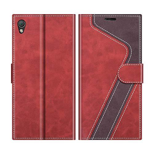 MOBESV Handyhülle für Sony Xperia Z3 Hülle Leder, Sony Xperia Z3 Klapphülle Handytasche Hülle für Sony Xperia Z3 Handy Hüllen, Modisch Rot