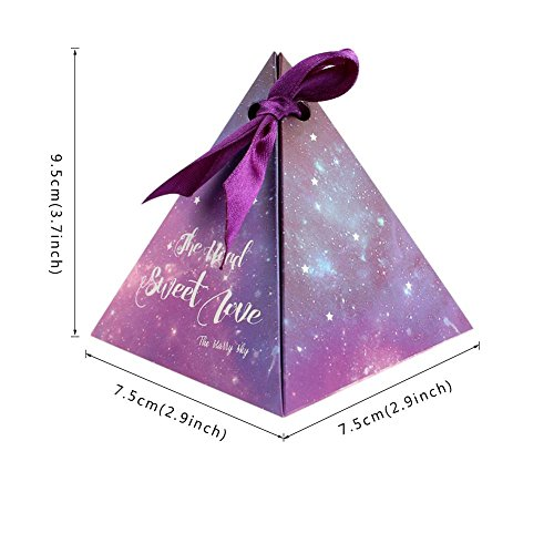 Kangsanli@ 50pcs Purple Triangular Gift Box with Starry Sky Galaxy Vintage Wedding Candy Box Wedding Favors and Gifts Bag Party Decorations (Purple)