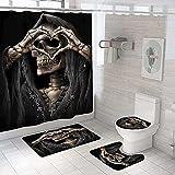 Shower Curtain 4 Piece Set Non-Slip 3D Grey Skull Pattern Bathroom Rug Mat Set Toilet Cover Bath Mat Non-Slip Waterproof Mould Proof Shower Curtains Bathroom Decoration 180x180 cm