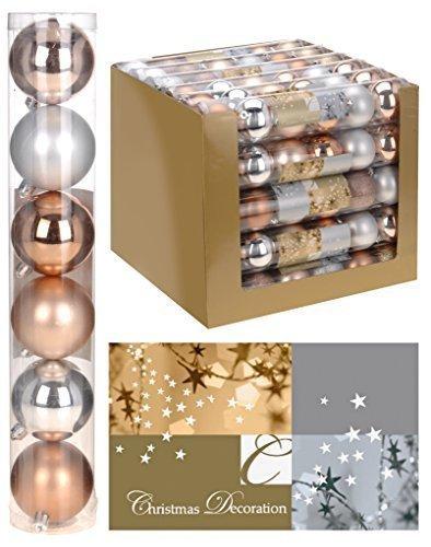 6 palline di Natale bronzo - Ø 6 cm Matt poposh - marrone per albero di Natale