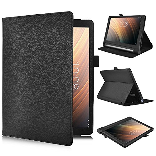ELTD Lenovo Yoga Tab 3 Plus 10.1 Cover, Book-Style Funda de Piel de Cuerpo Entero para Lenovo Yoga Tab 3 Plus 10.1 con la función, Negro