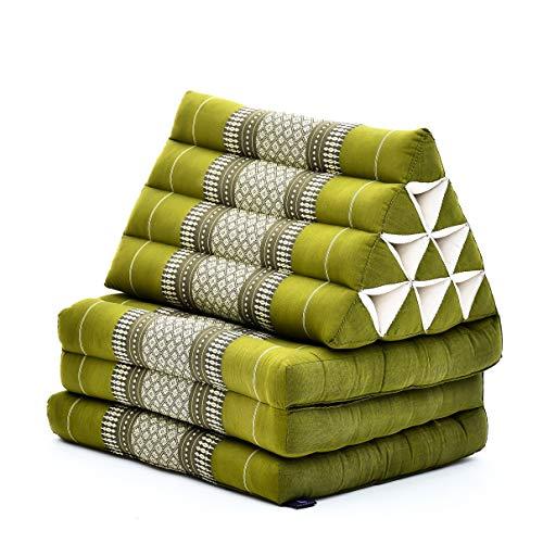 Leewadee Materassino Thai con Cuscino Triangolare Materasso Tailandese Pieghevole Poltrona per La Televisione, 170x53x40 cm, Kapok, Verde