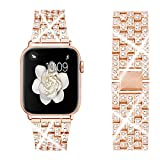 Dsytom Bing Band Compatible with Apple Watch Band 44mm 42mm,Jewelry Replacement Metal Wristband Strap for iWatch Band Series 6/5/4/SE(Rose Gold)
