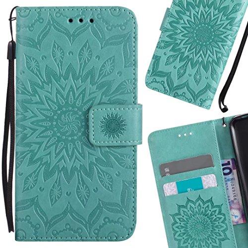 LEMORRY Handyhülle für Xiaomi Mi A1/Xiaomi Mi 5X Hülle Tasche Ledertasche Beutel Haut Schutz Magnetisch SchutzHülle Weich Silikon Cover Schale für Xiaomi Mi A1/Xiaomi Mi 5X, Blühen (Grün)