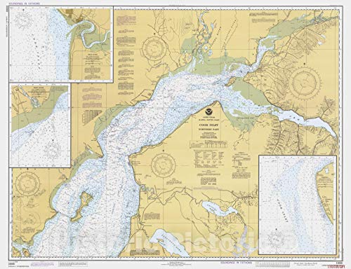 Historic Pictoric Vintage Map - Cook Inlet Northern Part, AK, 1982 Nautical NOAA Chart - Vintage Wall Art - 30in x 24in