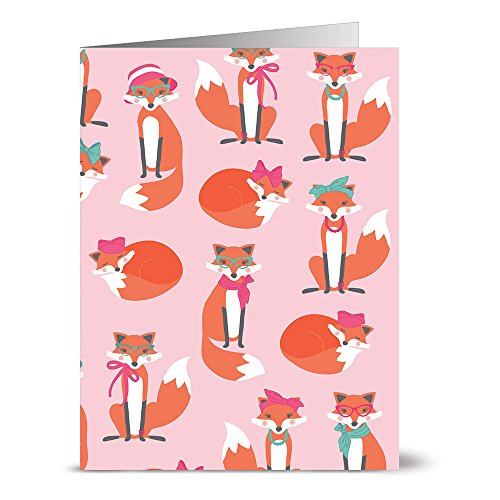 Note Card Cafe All Occasion Greeting Card Set with Envelopes | 24 Pack | Blank Inside, Glossy Finish | Foxy Ladies | Bulk Set for Greeting Cards, Occasions, Birthdays