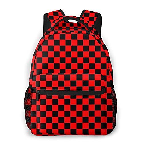 Mochila para colegio escolar con tablero de ajedrez, color negro y rojo, para colegio, estudiante, bolsa de libros para adolescentes