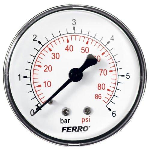 Industrie 63 mm hydraulisch Manometer 6 bar hinten 1/4