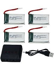 HB HOMEBOAT® Syma X5 X5C X5C-1 X5SC X5SW - Juego de 4 baterías Lipo 3.7V 600mAh 20C con Cargador 4 en 1