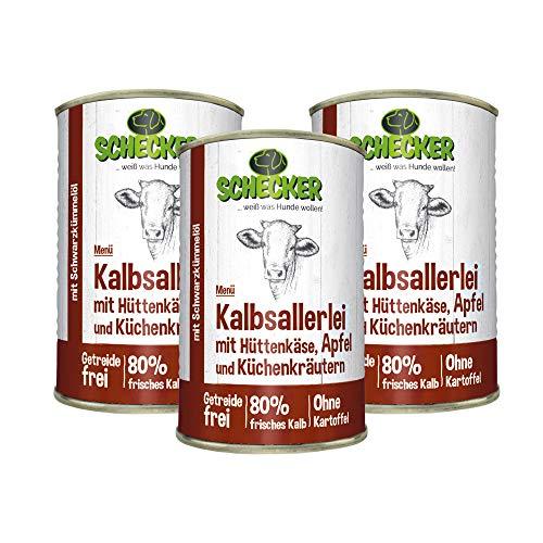 Schecker 3 x 410g Hundemenü Nassfutter mit 80% Kalb mit Hüttenkäse, Apfel und Küchenkräutern mit Schwarzkümmelöl getreidefreies Hundefutter
