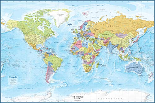Large World Map Poster - 36x24 - Detailed World Wall Map - 2020 Wall Map of the World Poster - Laminated World Map from Academia Maps