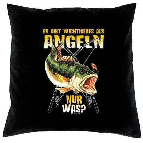 Lustiger Kissenbezug für Hobby Angler: Es gibt wichtigeres als Angeln - nur was? - Kissen mit Füllung- Fb:schwarz