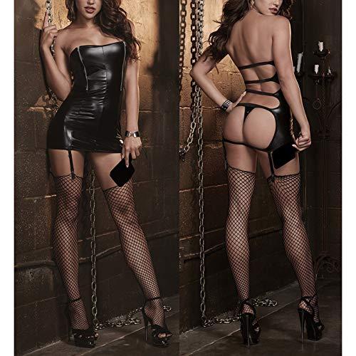 POO Mujeres Sexy Black Lencera Body Bodysuits Ertico Leotardo Disfraces Busto Zipper Hot Sexy Catsuit Nightwear con Lengua Lencera de Vendaje para Mujeres L