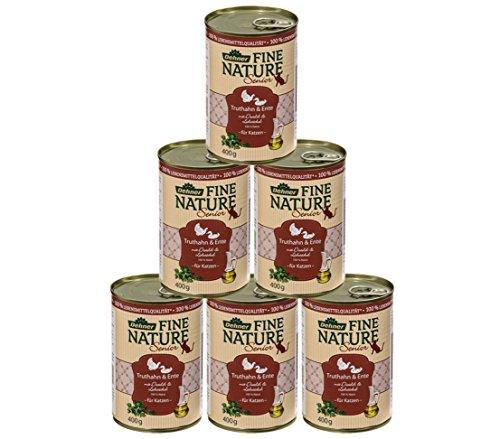 Dehner Fine Nature Katzenfutter Senior, Lebensmittelqualität, Truthahn und Ente, 6 x 400 g (2,4 kg)