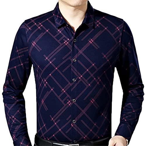 SLATIOM Moda masculina Casual Business Slim Fit Camisa de hombre Camisa de manga larga a cuadros Camisas...