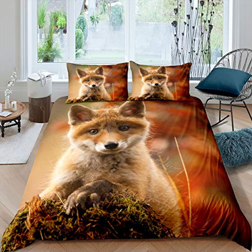 Tbrand Fox Bedding Set Baby Fox Printed Duvet Cover Set for Kids Boys Girls 3D Animal Theme Comforter Cover Wildlife Nature Quilt Cover Decor Bedroom Collection 3PcsKing Size