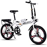FYYTRL Ligera de Acero al Carbono Bicicleta Plegable de la Ciudad, a 20 Hombres y Mujeres Inch Doble Freno de Disco Amortiguador Variable Bicicleta de la Velocidad,White