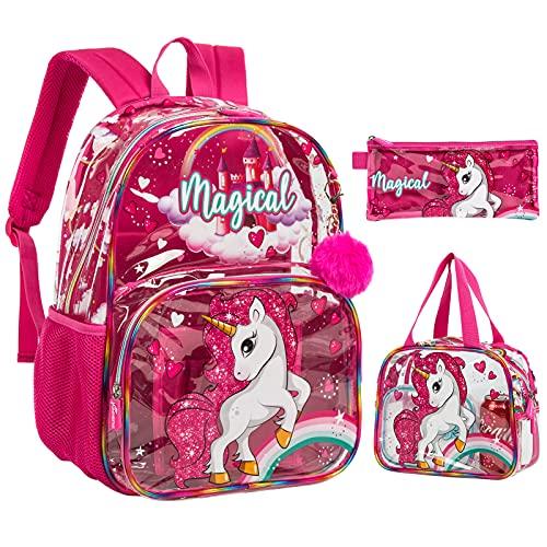 3PCS Mochila para niños con lonchera Caja de lápices Mochila Escolar Impermeable Transparente para niñas Unicornio Rosa