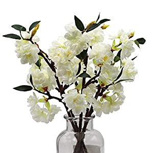 LSME 5pcs Beautiful Cherry Blossom Flowers with Stems Artificial Silk Sakura Branches for Arrangements Wedding Bouquet Kitchen Table Vase Office Home Decoration White