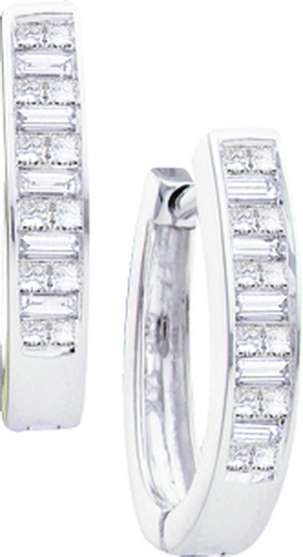 1 2 Total Carat Weight PRINCESS BAGGUETTE DIAMOND LADIES HOOPS EARRINGS