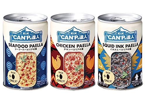 """【3缶セット】K&K """"CAN""""Pの達人 パエリアの素 シーフードパエリアの素 チキンパエリアの素 イカスミパエリ..."""