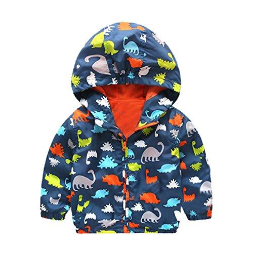 OVERDOSE Baby Infant Mädchen Jungen Dinosaurier Kapuzen Zip Mantel Jacke Dicke Warme Kleidung (6-12 Monate, A-Navy)