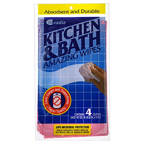 Kitchen and Bath Amazing Wipes - Absorbent and Reusable Cloth for Washing, Drying, Wiping in the Bathroom or Cuisine Surfaces   Cleaning Sink, Tiles, Bathtub, Walls, Mirror or Floors   2-Pack by Cadie
