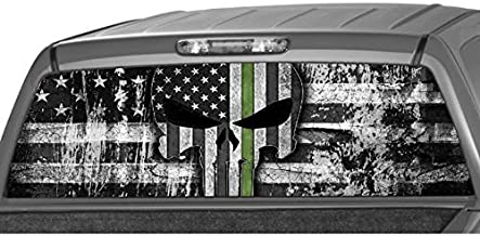 MotorINK American Flag B&W Punisher Skull Army Green Line Rear Window Graphic Decal Tint Sticker Truck SUV ute … (Size C 22