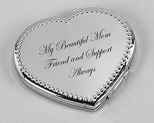 Personalized Dotted Silver Heart Compact Mirror Engraved FREE