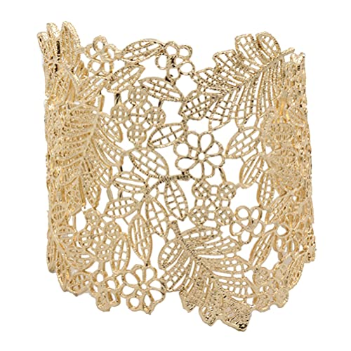 Holibanna 2Pcs Metall Spitze Armband Spitze Blatt Blume Hohl Vintage Boho Stil Manschette Öffnen Breites Armband Armband für Frauen Schmuck