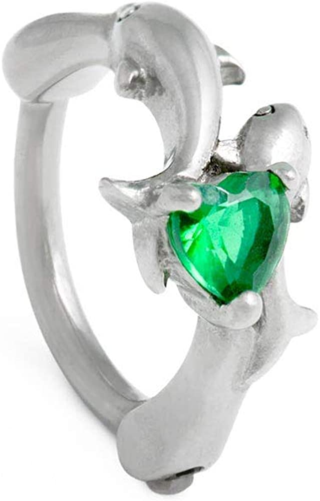 Painful Pleasures 14g Stainless Steel Clicker Jewelry for Ear or Navel Piercings — Sea Green Heart-Shaped Jewel and Dolphin Lovers Design — 10mm Inner Diameter
