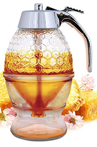 Hunnibi Honey Dispenser No Drip Glass - Maple Syrup Dispenser Glass - Beautiful Honey Comb Shaped Honey Pot - Honey Jar with Stand, Great Bee Decor