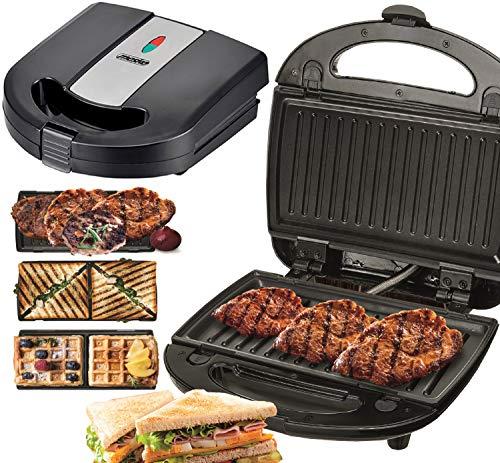 3in1 Kontaktgrill | 1000 Watt | Sandwichmaker | Elektrogrill | Sandwichtoaster | Waffeleisen | Paninigrill | Waffeltoaster | 3 Auswechselbare Platten | Sandwich Maker | Panini Grill | Grill