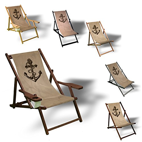 Printalio - Anker - Liegestuhl Bedruckt Balkon Garten Sonnenliege Relax Holz Terrasse | mit Armlehne, Dunkelbraun