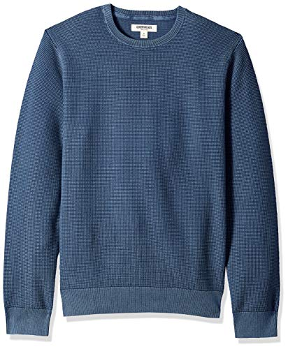 Amazon Brand - Goodthreads Men's Soft Cotton Thermal Stitch Crewneck Sweater, Washed Blue, Large