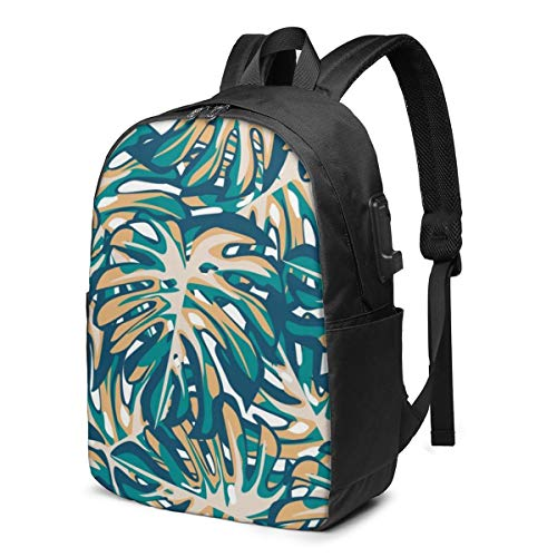 Trendy Leaves Monstera Laptop Backpack,17 Inch Stylish College School Backpack with USB Charging Port, Casual Daypack Laptop Backpack for Unisex/Business/Travel